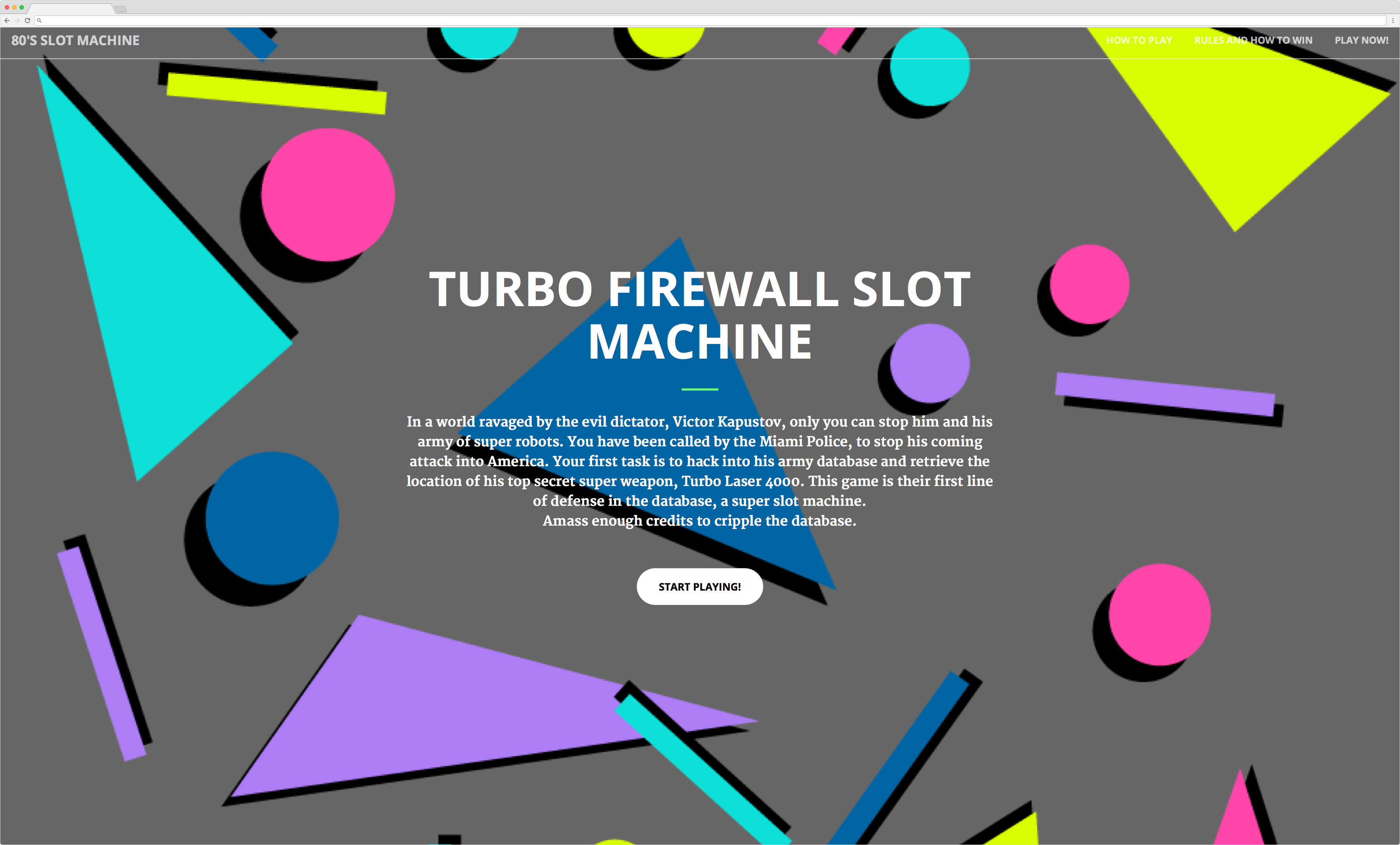 Front Page of Turbo Firewall Slot Machine
