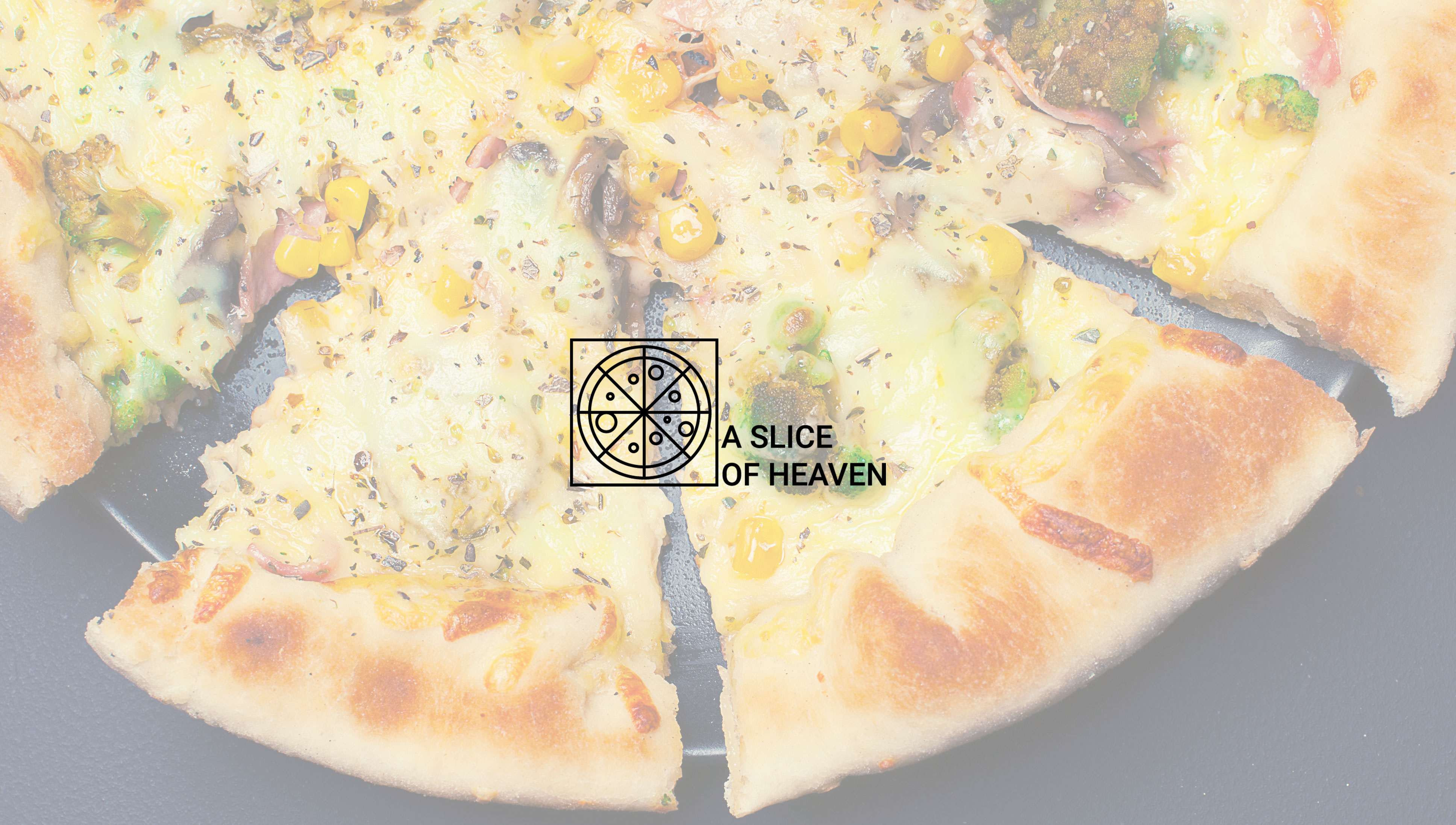 Pizza background with A Slice of Heaven Logo